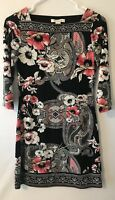 White House Black Market Black White Pink Floral Womens XXS Sheath Dress
