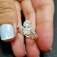 2 Carat Total Forever Us Round Natural Diamond Two Stone Ring 14K White Gold