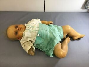 "Terrifying 24"" Antique Wax Baby Boy Doll Antique Blue Glass Eyes MESSED UP"