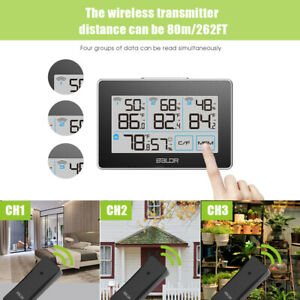 BALDR B0317 Wireless Weather Station  Indoor Outdoor Thermometer  With 3 Sensors