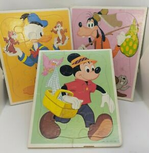 (3) Vintage Disney Frame Tray Puzzles Mickey Mouse Goofy Donald Duck Chip & Dale