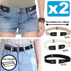 2x Stretchgürtel ohne Schnalle elastisch Gürtel Damen Herren bis 120cm NEU