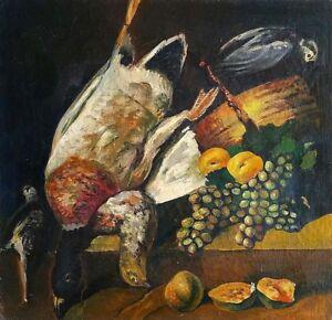 George Yanev: Still Life, Fruit & Birds 1962 / Bulgarian Modern Realism S/Oil
