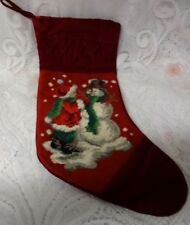 Vintage Handmade Needlepoint Child Snow Man Christmas Stocking Finished Craft