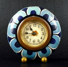 Réveil rond floral art-déco années 30 c1930 Alarm clock with blue flowers