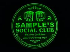 4x ccpz-tm Personalized Name Custom Social Club Bar Beer 3D Coasters