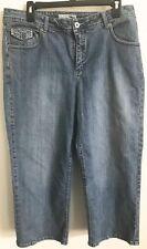 Chicos Denim Jeans Capri Platinum Distressed Sz 2/12 Rhinstone Womens Pants