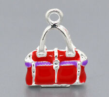 2 Pcs Silver Plated Enamel 3D Handbag Charms Pendants 20x15mm LC0634