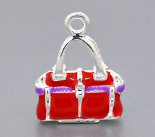 2 Pcs Silver Plated Enamel 3D Handbag Charms Pendants 20x15mm LC0634