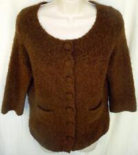 Boston Proper Cardigan Sweate M Fuzzy Wool Blend in Milk Chocolate 3/4 Sleeve
