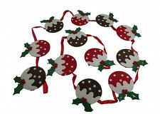 Gisela Graham Christmas Pudding Christmas Bunting - Fun Christmas Decoration