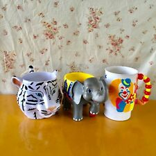 THE GREATEST SHOW ON EARTH Coffee Cup 3pcs elephant tiger RING LING BROTHERS