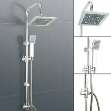 Luxury Thermostatic Chrome Square Mixer Shower Heads Rainfall Rail Hose Riser