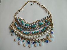 """Fashion necklace,rhinestones,stones,moonstone,turquoise,gold tone,great cnd,16"""""""