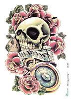 Arm Backs temporary tattoos tribal large Waterproof  Skull Rose flower tattoo