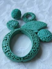 6 Turquoise Carved Cinnabar Lacquerware Beads, 15 - 50mm. Jewellery Making
