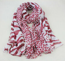 Pure Silk Women Sheer Scarf Soft Oversize Wraps Leopard Zebra White Burgundy Red