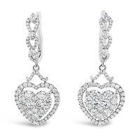 18k White Gold 1.91ct TDW White Diamond Dangling Heart Cluster Earrings