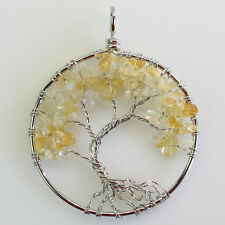Natural Citrine Chip Beads Tree of Life Silver Round Pendant For Necklace