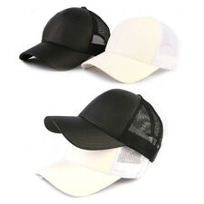 Unisex Mens Womens Mesh Plain Solid Color Baseball Cap Artificial Leather Hats