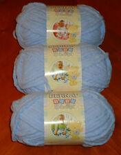 Bernat Baby Blanket Yarn Lot Of 3 Skeins (Baby Blue #03202) 3.5 oz. Skeins