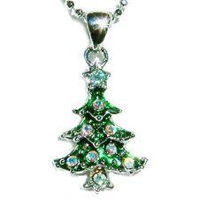 w Swarovski Crystal ~Green XMAS TREE~ Charm Pendant Chain Necklace Holiday GIFT