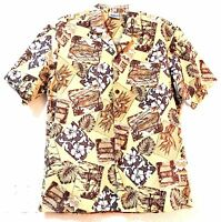 Vintage Hawaiian Shirt Royal Creations Mens L Beige Cotton 47 Chest