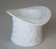 White Milk Indiana Glass Daisy & Button Top Hat Planter Dish Bowl Container