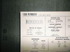 1959 Plymouth MP1-L & MP1-M 230 CI L6 SUN Tune Up Chart Excellent Condition!