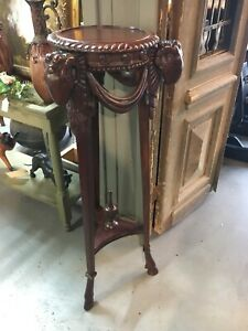 Antique Style Carved Mahogany Plant Stand W/ Rams Head & Hooved Feet Goat