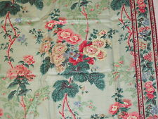 "Lee Jofa HOLLYHOCK MINOR Green Glazed Chintz Fabric Remnant 1 yd+ 42x54"" Sample"
