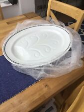 More details for losel ware large white serving dish with blue edged pattern