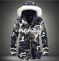 Mens Cotton Camo Fur Collar Hooded Winter Coat Warm Thicken Outwear Jackets New