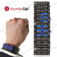 DIGITAL Volcanic LAVA Samurai IRON Faceless BRACELET WATCH Blue LED Mens Ladies