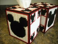 TISSUE BOX COVER - MICKEY MOUSE - Plastic Canvas