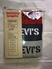 Levi's Mens Surplus Series 3 Pack 100% Cotton Trunks Red, Gray and Marine Blue.