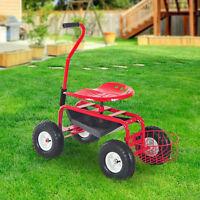 Rolling Garden Cart Planting W/ Tool Tray Basket Swivel Work Seat Heavy Duty Red
