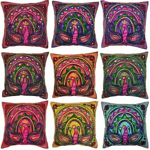 Peacock Suzani Cushion Covers Eclectic Boho Indian Pillow Case Gypsy 40cm Square