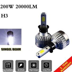 COB Car H3 LED Headlight Bulbs Conversion Kit 200W 20000lm 6500K Plug Play