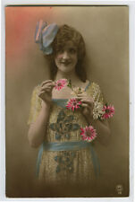 1920s French Deco Glamour PRETTY YOUNG LADY Beauty tinted photo postcard
