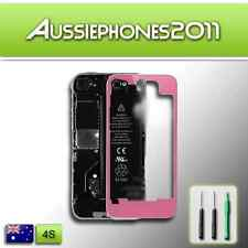 TRANSPARENT PINK Colour LCD Digitizer Glass Back Screen Cover for iPhone 4S