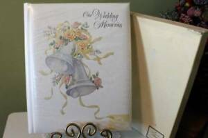 Wedding Album 9x11 Raised Silver Bells Ribbons and Roses Vintage Hallmark in Box