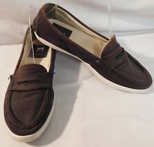 COLE HAAN NAVY BLUE CANVAS BOAT SHOES LOAFERS SLIGHTLY FADED WOMENS SIZE 7.5 EUC