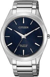 NEU! Citizen Eco-Drive Herren Uhr Titan Silber Blau BJ6520-82L NEU in OVP/Folie!