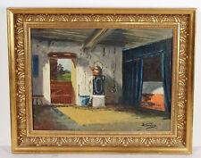 Antikes Ölgemälde skandinavische Malerei in vergoldetem orign. Rahmen ~1920er
