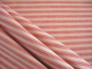Primitive Tan Red Stripe Ticking Christmas Cotton Rag Quilt Doll Homespun Fabric