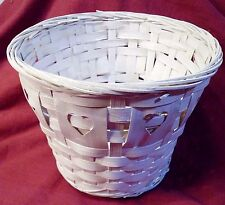 "White Basket Small Round Woven w/ Hearts 6"" Pot Cover Wedding Crafts Flowers"