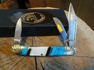 "SILVERHORSE STONEWORKS 4"" CLOSED WRANGLER POCKET KNIFE MOP & TURQUOISE 3-BLADE"
