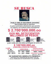 Pablo Escobar Colombias Wanted Poster Flyer 8x10