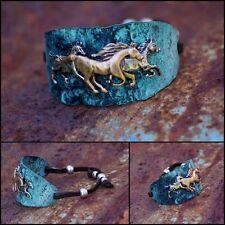 Cowgirl Hammered Metal Horse Cinch Bracelet - Patina